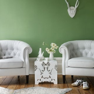 Decor living verde alb