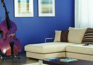 Living cu pereti albastri