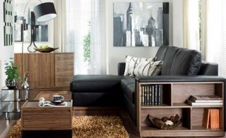 Living mic cu canapea din piele neagra cu brat cu etajera pentru carti si covor shaggy maro