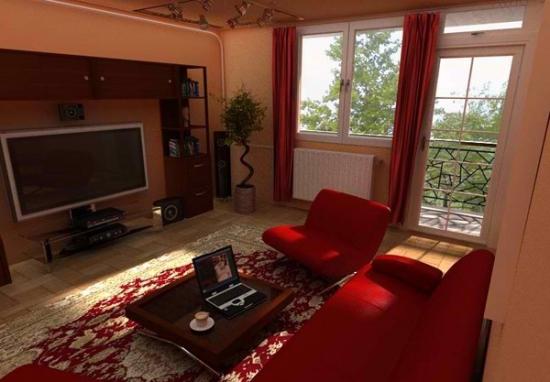 Living mic cu canapea si fotolii rosii moderne