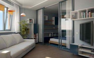 Living mic cu gri si raturi modulare pe pereti