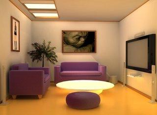 Living mic minimalist cu canapea si fotoliu mov
