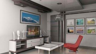Living simplu alb cu gri si scaun pentru televizor rosu
