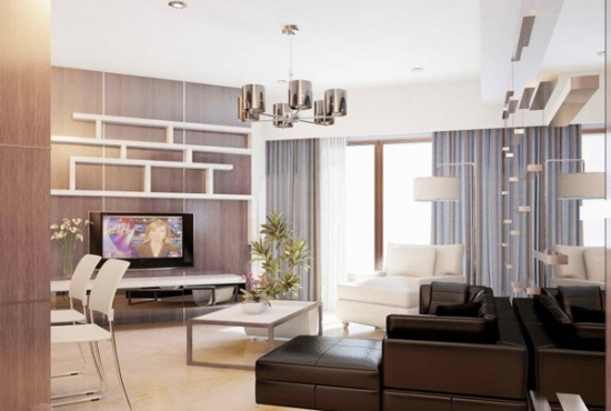 Sufragerie de apartament studio cu perete cu oglinda si canapea maro din piele