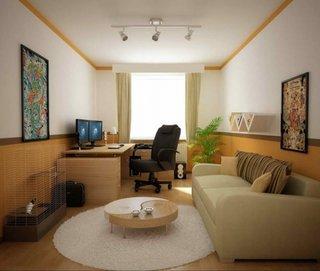living de apartament cu canapea crem masuta crem cu alb si birou