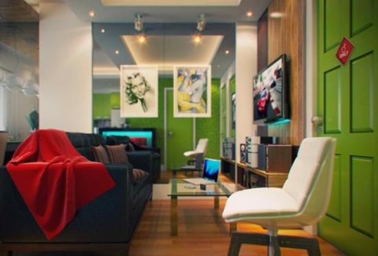 living ingust cu canapea gri inchis si mobila joasa cu suport TV