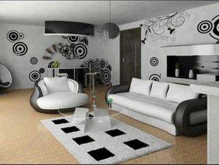 Decor modern camera de zi amenajata cu alb si negru