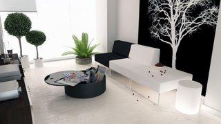 Living modern cu perete negru cu stickere albe