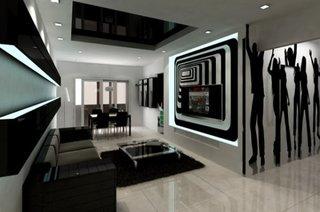Panouri decorative sticla cu negru perete living