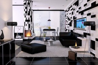 Pereti cu joc culori puzzle alb si negru