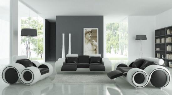 Set canapea si fotolii piele alb cu negru