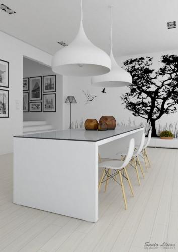 Sticker decorativ copac negru pe perete alb