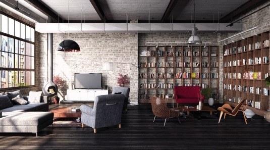 Amenajare industriala, minimalista cu biblioteca simpla si pereti nefinisati
