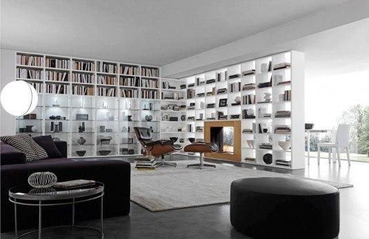 Biblioteca folosita pentru separarea spatiului dintre living si dinning