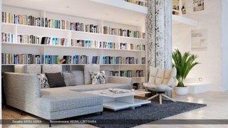 Canapea gri deschis cu biblioteca in spate