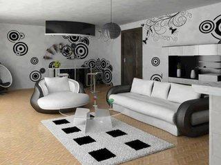 Canapea si fotoliu living negru cu alb