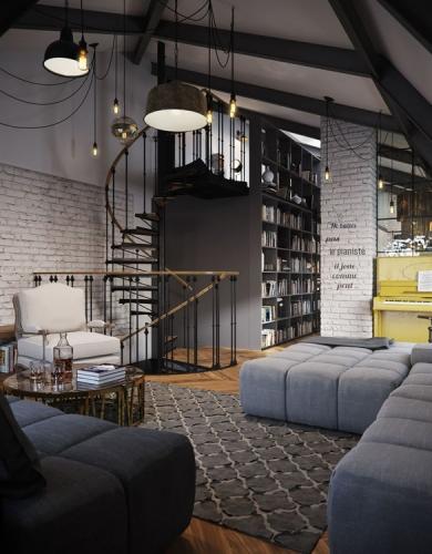 Design living cu pereti din caramida alba