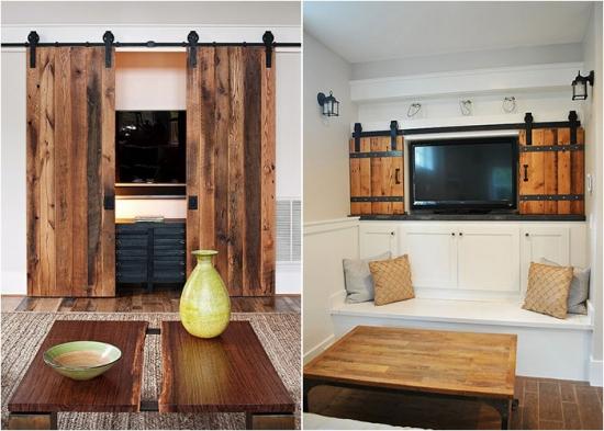 Usi glisante din lemn pentru mascare TV in living