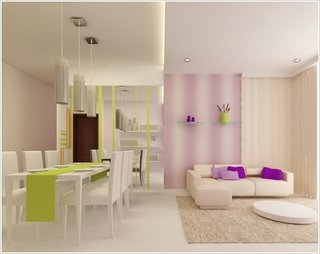 Living cu decor violet