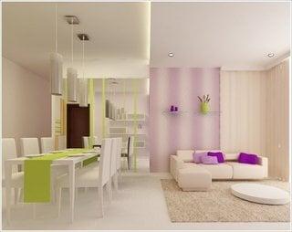 Living cu decor violet