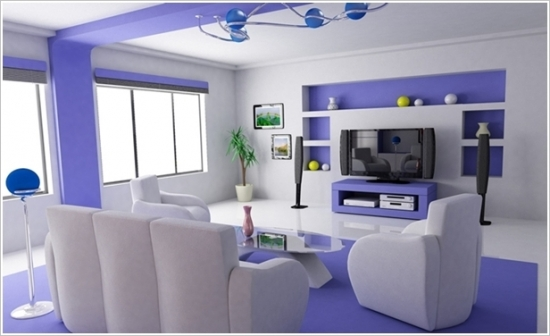 Living cu design alb violet