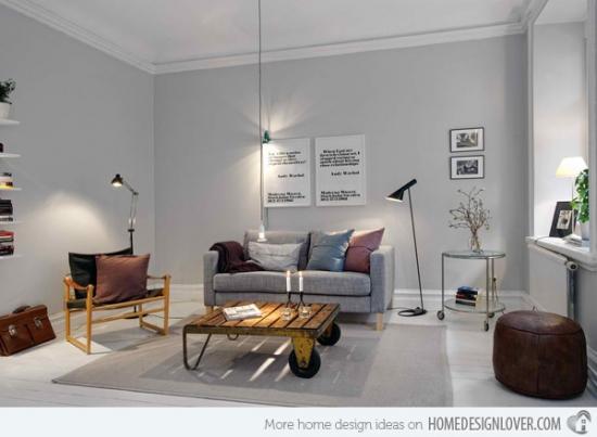Masuta vintage element central de decor in living gri deschis