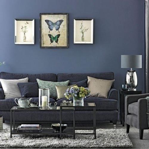 Zugraveala albastru denim asortata cu canapea gri inchis