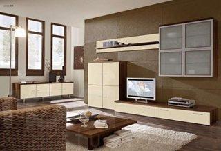 Covor pufos bej mobilier maro cu bej comoda tv cu rafturi moderne in living