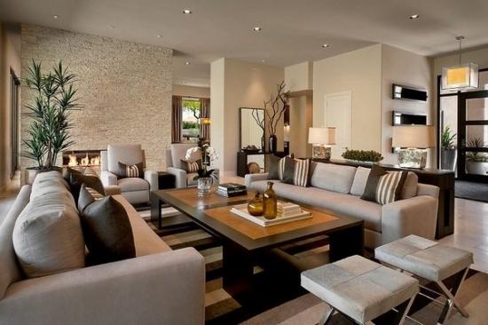Living modern open space in nuante de maro si bej