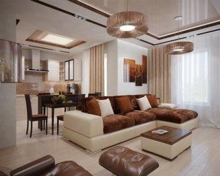 Sufragerie open space mobilier maro cu bej parchet bej