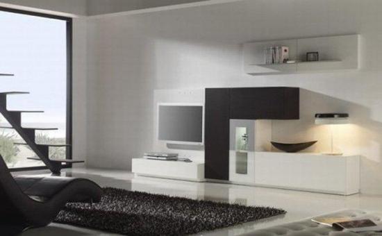 Covor negru cu fir lung pentru o sufragerie minimalista