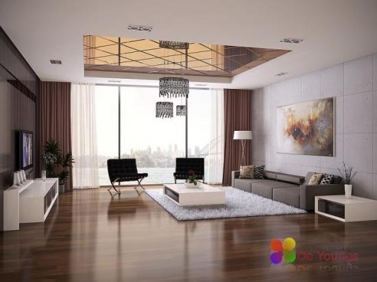 Design minimalist elegant cu canapea gri si mobila alba