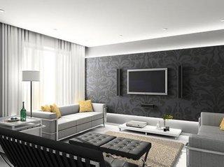 Living cu perete cu tapet negru