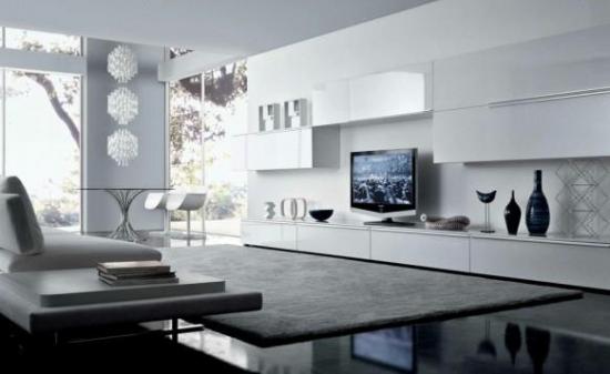 Living minimalist cu mobila alba si gri