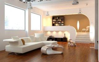 Parchet maro si mobila de living minimalista alba