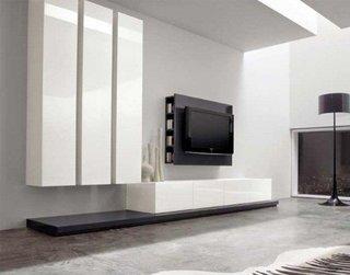 Sufragerie cu mobila alba din MDF lucios