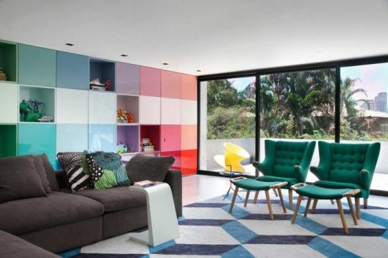 Biblioteca pentru living modulara multicolora