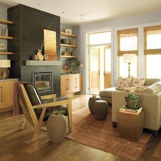 Living de apartament cu semineu construit din rigips