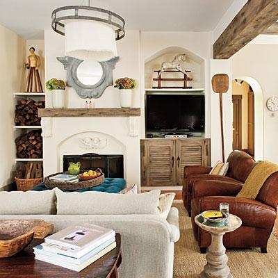 Living in stil rustic cu grinda din cedru