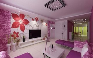 Living luxos decorat cu mov
