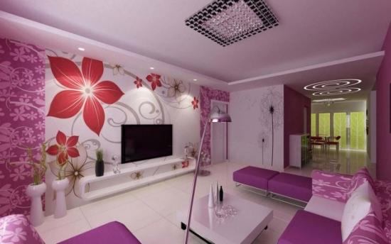Living luxos decorat cu mov