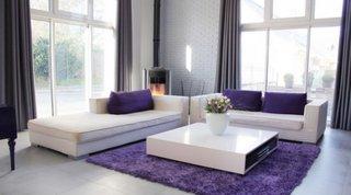 Living modern culoare mov canapea alba