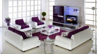 Set canapele albe cu mov living frumos