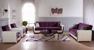 Set canapele fixe si fotolii mov cu alb