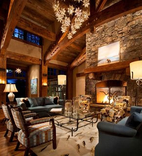 Living inalt cu decor rustic