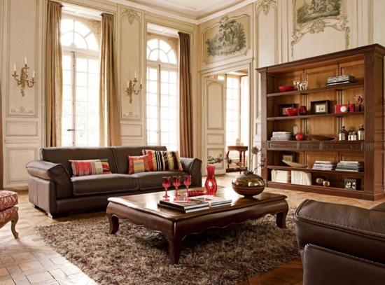 Mobila clasica din lemn pentru un living luxuriant