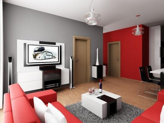Stil retro cu mobilier alb cu negru si rosu pentru o mica sufragerie