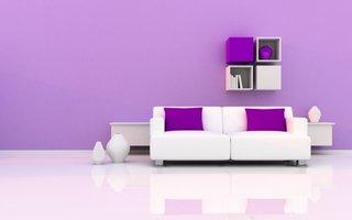 Zugraveala mov in combinatie cu canapea alba si etajere suspendate albe cu mov