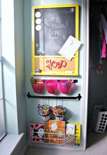 Colt de perete amenajat pentru activitati creative copii