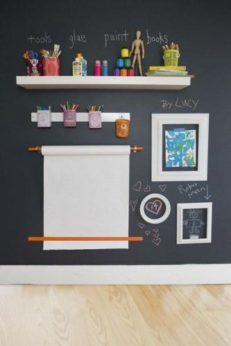 Perete cu vopsea cu efect de tabla de scris si rola de hartie fixata pe  perete